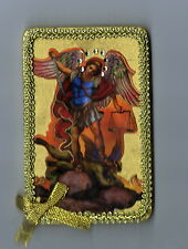 Archangel SAINT ST MICHAEL Icon 4 Inch Ornament or Wall Plaque NEW Text border