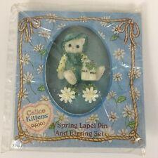 Enesco Calico Kittens Spring Lapel Pin & Earring Set 1996 Priscilla Hillman