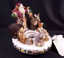 "Deb Strain Christmas candle capper Santa & woodland animals 4"" tall"