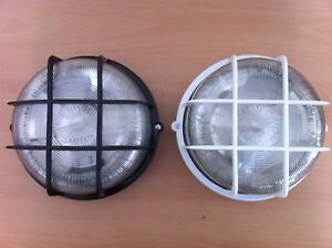 Outside Round Bulkhead Light Fitting With Cage Black Or White IP44 Great Value!