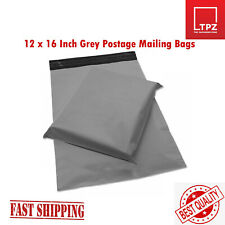 "50 LARGE 12 x 16"" GREY PLASTIC MAILING BAGS SELF SEAL POSTAGE POST SACKS"