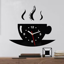Time For Coffee Kitchen Wall Clock In High Gloss Black Modern Contemporary