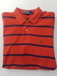 Ralph Lauren Polo Shirt Size XL Green Pony Orange Striped Short Sleeve