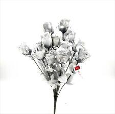 14 Rose Buds Artificial Silk Fake Faux Flowers Wedding Bouquet - Metallic Silver