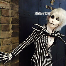 The Nightmare Before Christmas Jack Skellingto Silver White Hair Cosplay Wig