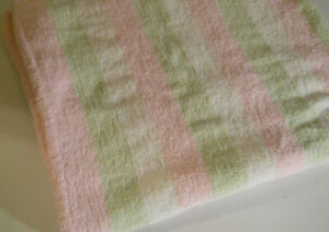 Carters chenille girls baby blanket Knit striped pink green white Soft        A3