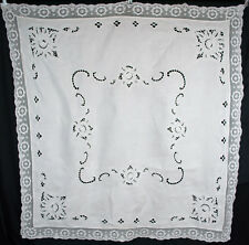 """1930's LINEN LUNCHEON CLOTH WHITE WORK WITH INITIAL """"B"""" EMBR. FLOWERS 58"""" x 55"""""""