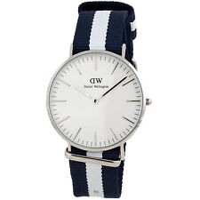 Daniel Wellington Glasgow White Dial SS Textile Quartz Mens Watch 0204DW