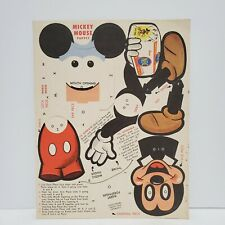 Vtg 50s Mickey Mouse Paper Puppet NBC Bread Walt Disney Productions Promotion
