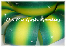 """3"""" Glitter Double Ombre Cheer Grosgrain Ribbon 4 Tic Toc Bow Forest Yellow Gold"""