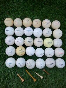 30 VINTAGE GOLF BALLS & TEES / Uniroyal, Trevino, Dunlop, Triple X, Good Year ++