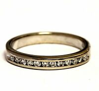 14k white gold .24ct SI2 H round diamond channel wedding band ring 3.2g estate