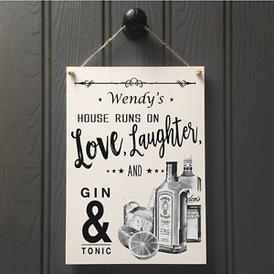 Love & Laughter Gin & Tonic Sign - Personalised Gin & Tonic Sign G&T O'Clock