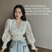 Lady Blouse Shirt Crop Top Ruffle Lace Floral Puff Long Sleeve V-neck Retro Slim