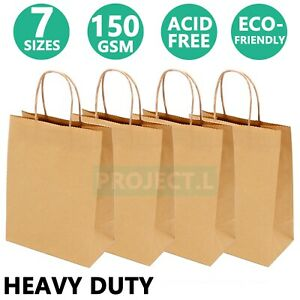 Kraft Paper Bags Gift Shopping Carry Craft Brown Bag with Handles Horizontal Au