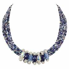 Luciana Blue and Silver Statement Venetian Murano Glass Torsade Necklace
