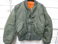VTG Alpha Industries Made In The USA Olive Green Flight Jacket Size Small