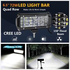 "6.5"" 72W Quad Row Light Bar Car Off-road Driving Fog Lamp Flood LED Work Light"