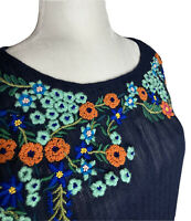 FREE PEOPLE Embroidered Size XSmall Floral BoHo Blouse  Front Tie Navy Blue