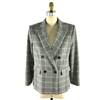 MNG Double Breasted Plaid Blazer Suit Jacket Size 10 Womens Black Cream NEW