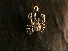 Bauchnabel Piercing Krebs 24 Karat Gold Steine Weiß Krabbe Tier Meer Ozean