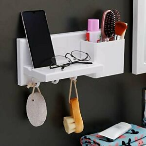 YOHOM Adhesive Shower Caddy with Cell Phone Stand Holder White Floating Wall She