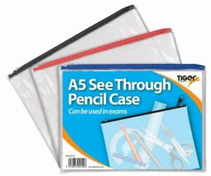 A5 Flat Exam Pencil Case CLEAR TIGER - RED ZIP x2 (a5 + small)