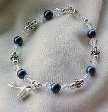 Bracelets: Crystalized Sterling Shoe Charm on Navy Swarovski Hand-Crafted Strand