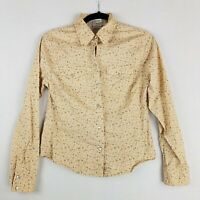 Periscope Western Pearl Snap Button Up Blouse Medium Womens Floral Tan