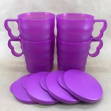 Tupperware Impressions Mugs 12 oz Set of 4 Purple w/Seals #3547 New