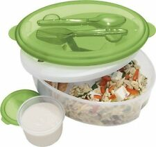 Oggi Chill-To-Go Lunch Box Food Container Set with Green Lid and Fork and Spoon