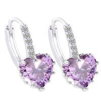 18K White Gold GP Zircon Crystal Heart Earrings Wedding Earrings Dangle Earrings
