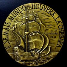 SHIP / CARRACK AGE OF DISCOVERIES ON THE SEA / POET / BRONZE MEDAL 80 mm / N130