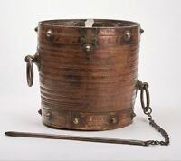 ANTIQUE SOUTH INDIAN METAL CLAD WOOD RICE BUCKET 18/19TH C.