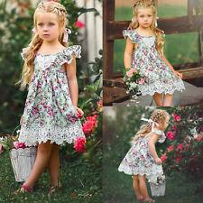 Toddler Kids Baby Princess Girl Summer Straps Lace Dress Ruffles Floral Skirt GN