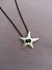 FREE GIFT BAG Leather Necklace Antique Silver Vintage Style Ladies Xmas Star