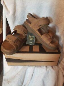 Nunn Bush Men's Tan Suede Sandals NIB Rocketman Stone Size 8 #83837