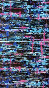 Vintage Retro 80' Pink Blue black Inkblot Prism Fabric semi-stretchy