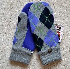 HANDMADE 100% SHETLAND WOOL recycled sweater MITTENS, Fleece Lined,  Argyle