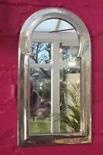 Hand Crafted* MOROCCAN BEATEN METAL SILVER COLOUR  KEYHOLE ARCHED SHAPED MIRROR*