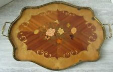 Antique Sorrento Italy Floral Inlaid Marquetry Serving Tray Brass Hardware