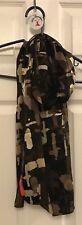 Anne KleinSilk Scarf Brown Beige & Black Camouflage Style Mint 5 Feet Accessory