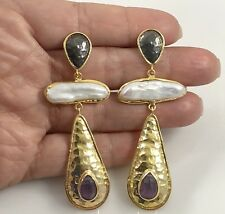 Genuine Amethyst & Cultured Pearl 22kt Gold Over Sterling Silver Dangle Earrings
