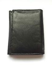Genuine Black Leather Mens Gents Trifold Credit Card Holder Note Wallet Slim