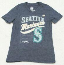 Majestic T-Shirt Boys Solid Short Sleeve Medium 10/12 Seattle Mariners Gray Tee