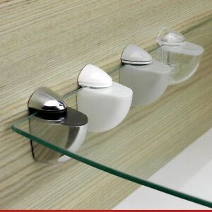 2 PELICAN ADJUSTABLE WHITE CHROME GLASS SHELF SUPPORT CLAMPS PAIR OF BRACKETS