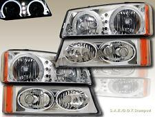 03 04 05 06 Chevy Silverado Avalanche Halo LED Headlights + Bumper Lights Clear