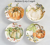 NEW Pottery Barn Thanksgiving Fall Watercolor HARVEST PUMPKIN Salad Plates SET/4