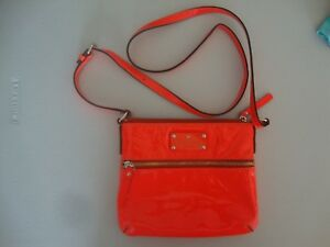 Kate Spade Neon Orange patent Leather crossbody handbag Cute