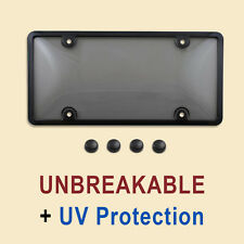 TINTED LICENSE PLATE COVER + BLACK FRAME tag shield protector black smoke 017